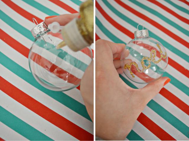 Glitter Word Ornament DIY | A Joyful Riot @ajoyfulriot