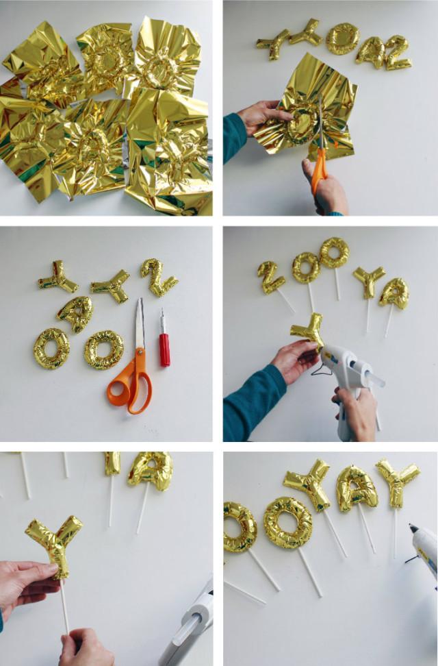 DIY mini foil letter balloon cake toppers | A Joyful Riot @ajoyfulriot