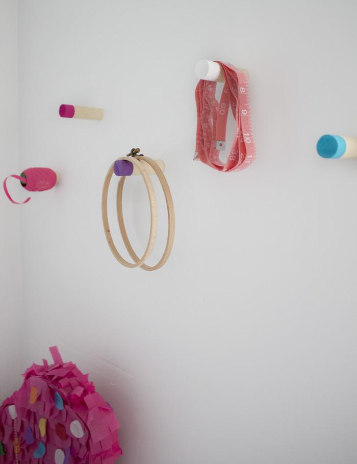 Colorful craft corner DIY wood hooks | A Joyful Riot