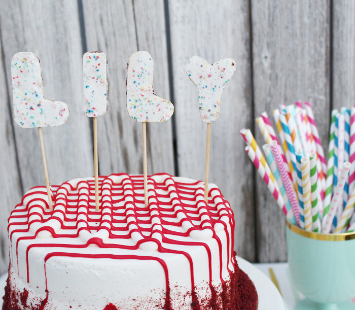 Cut letters and numbers from pop tarts for colorful and edible cake decorations! | A Joyful Riot