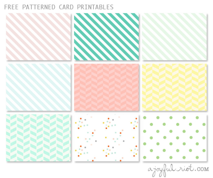 9 free pretty patterned cards to print and use for gifts or notes | A Joyful Riot