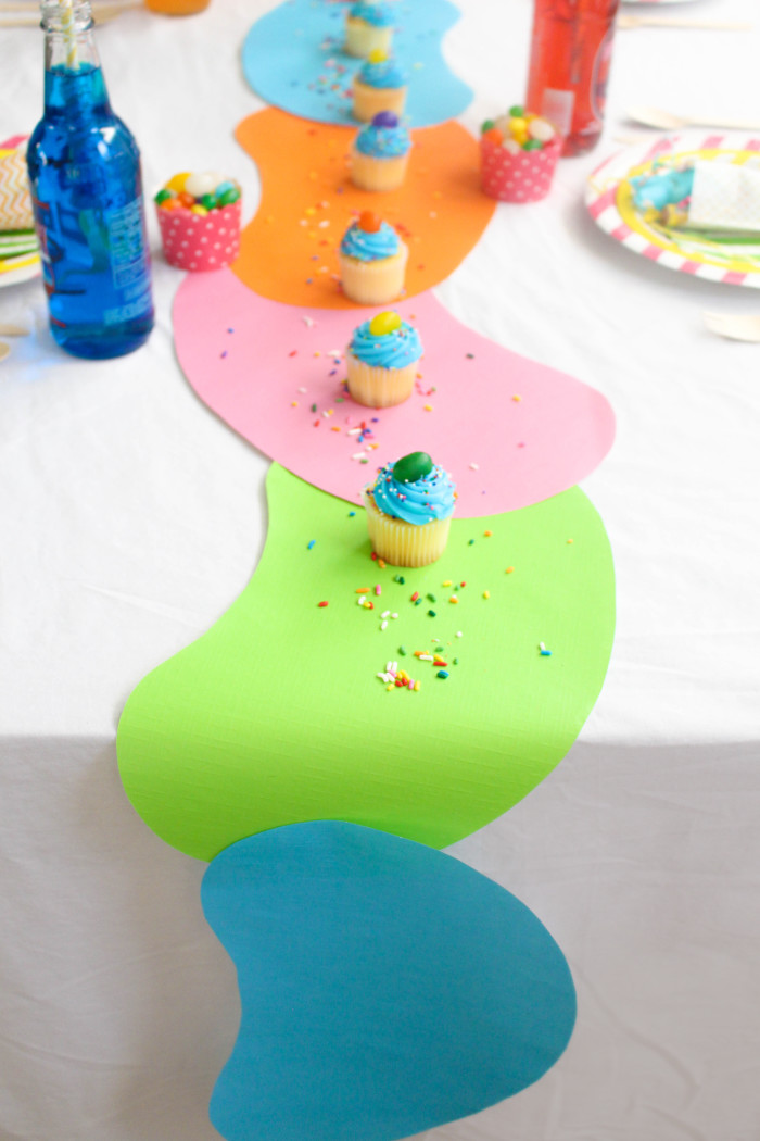Paper jellybean table runner with free jellybean shape template | A Joyful Riot
