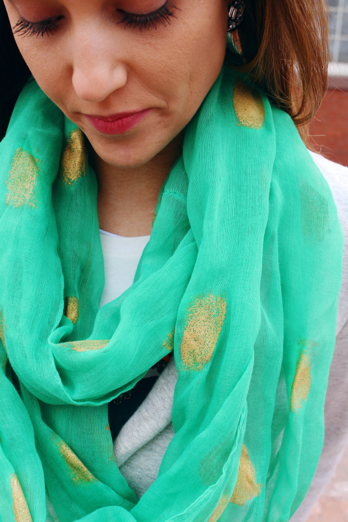 Really simple technique to give a painted gold foil look to scarves | A Joyful Riot