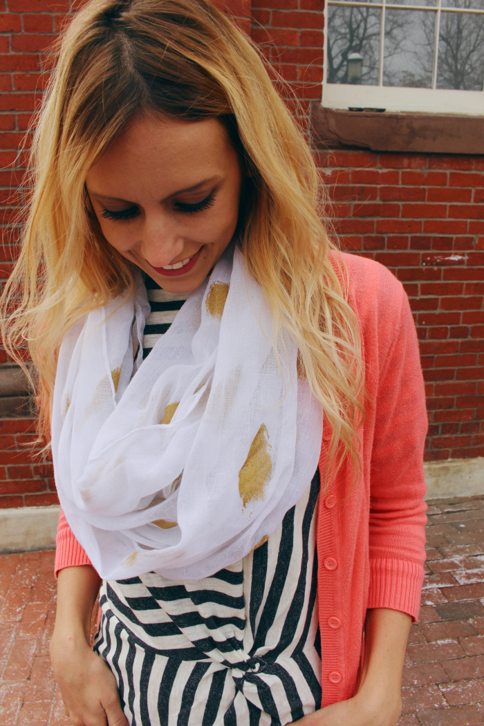 Really simple technique to give a painted gold foil look to scarves   A Joyful Riot