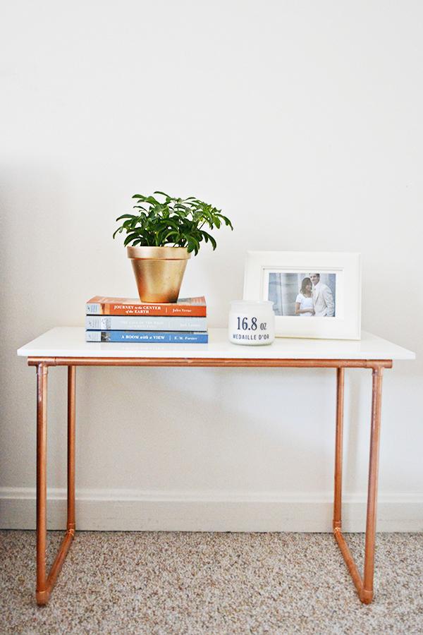 marble and copper side table a joyful riot. Black Bedroom Furniture Sets. Home Design Ideas
