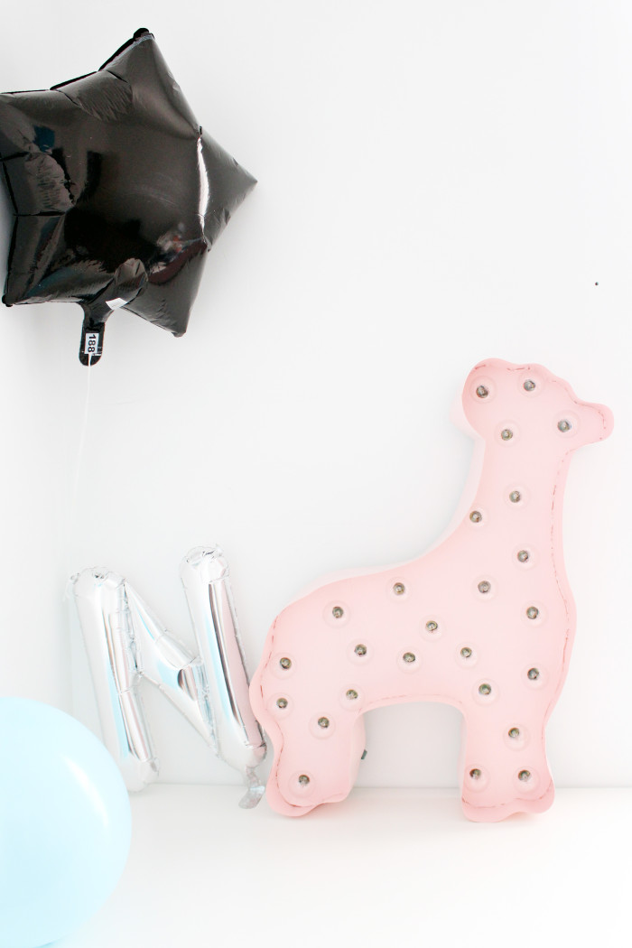 Animal cookie marquee light and mylar balloons | A Joyful Riot