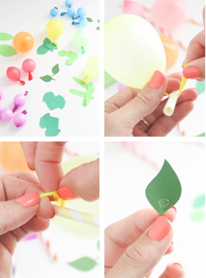 sweet and colorful fruity balloon straws via A Joyful Riot