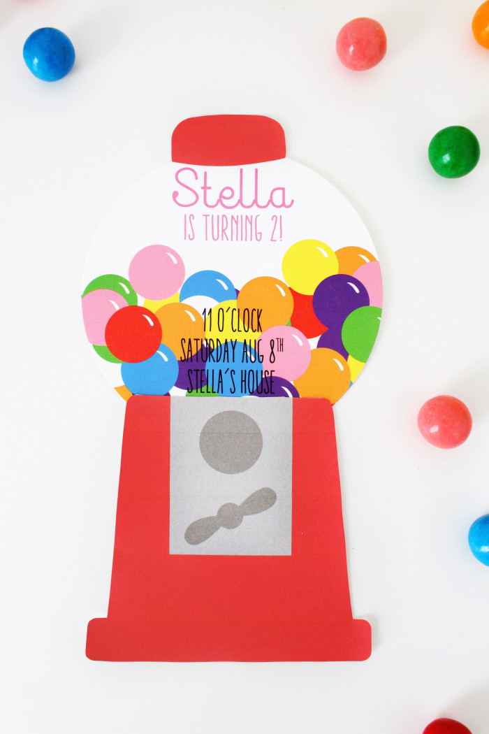 Free Printable Gumball Machine Birthday Party Invitations | A Joyful Riot