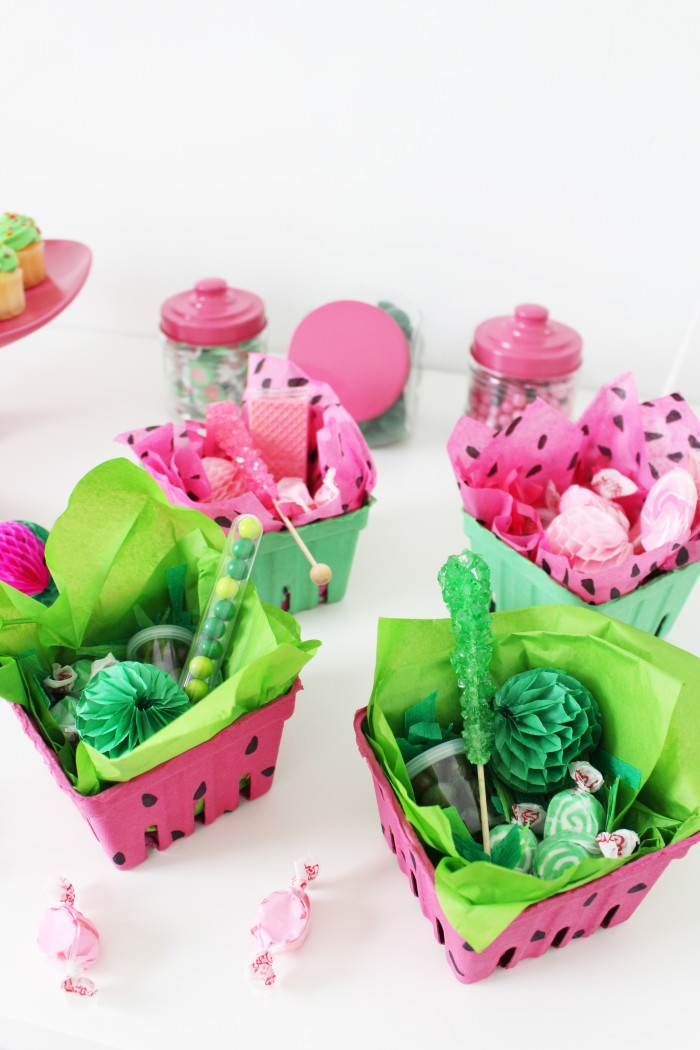 Cute colored berry boxes make sweet little watermelon party favors! | A Joyful Riot