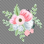 Vintage Floral Bouquet on Stripes (2 colors) | free printable