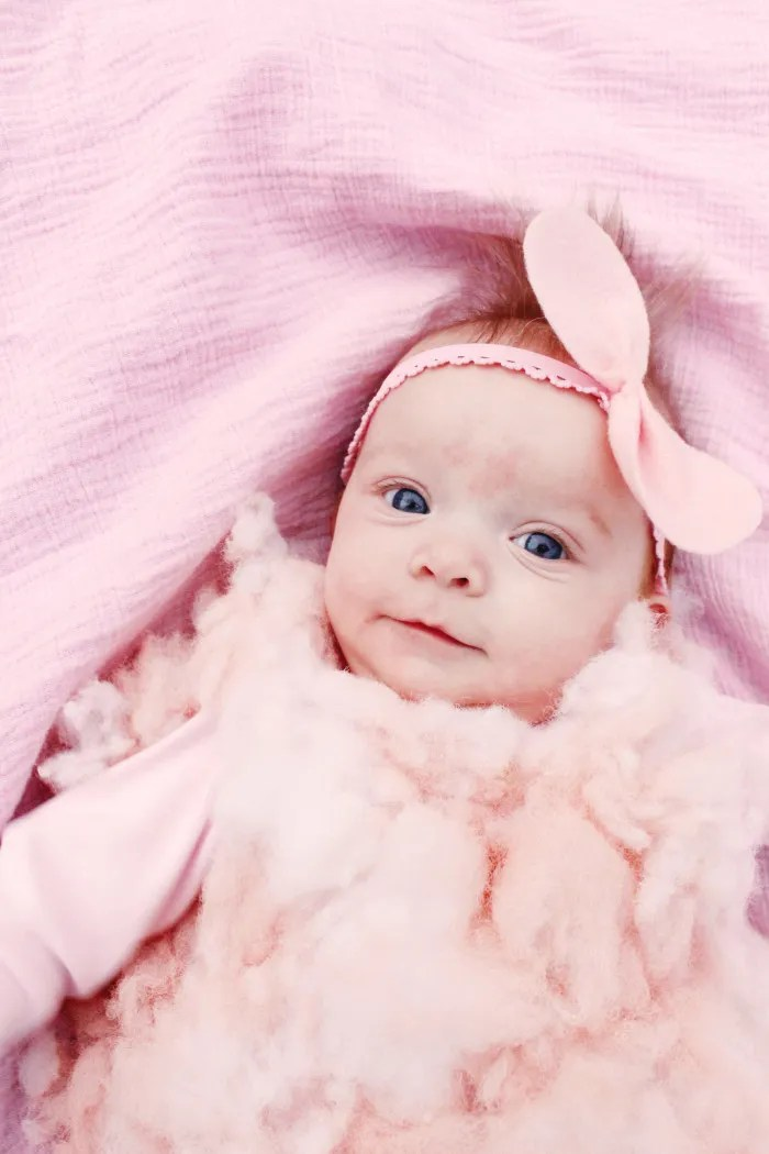 DIY baby cotton candy costume for the sweetest first Halloween ever ajoyfulriot.com @ajoyfulriot -11