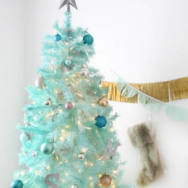 DIY Mint Green Christmas Tree {Spray Painted Tree}
