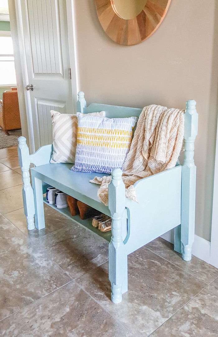 How to turn a coffee table into an entry way bench ajoyfulriot.com @ajoyfulriot