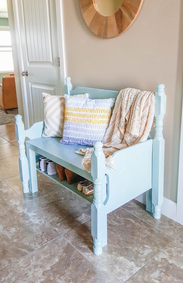 How to turn a coffee table into an entry way bench ajoyfulriot.com @ajoyfulriot