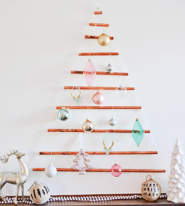 DIY Wall-Mounted Copper Pipe Christmas Tree   A Joyful Riot