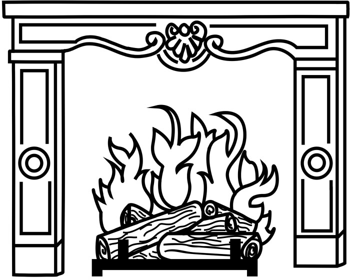 Giant fireplace to print with a black outline and white background