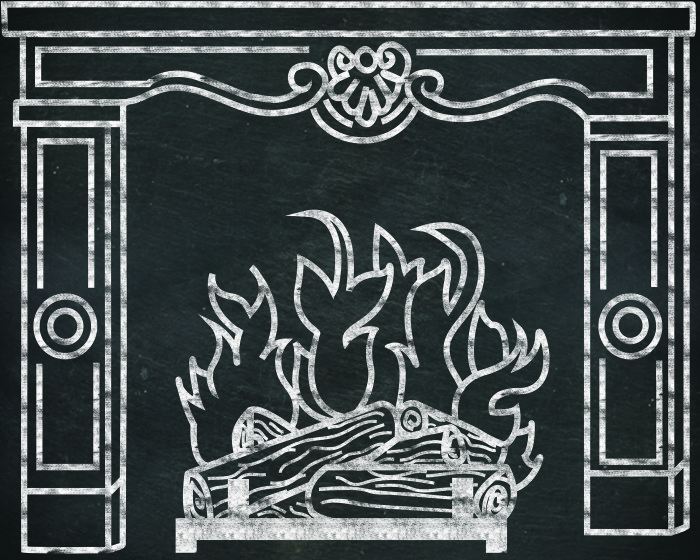 Giant fireplace to print with a blackboard background and a white chalk outline