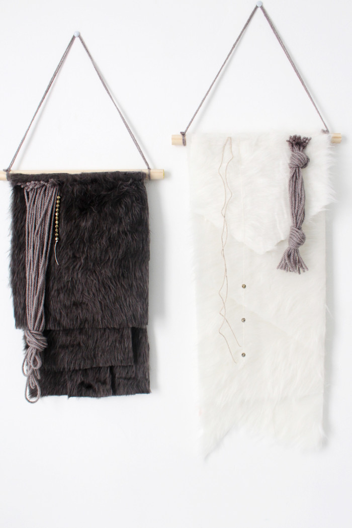 Faux fur wall hanging DIY decor from ajoyfulriot.com @ajoyfulriot