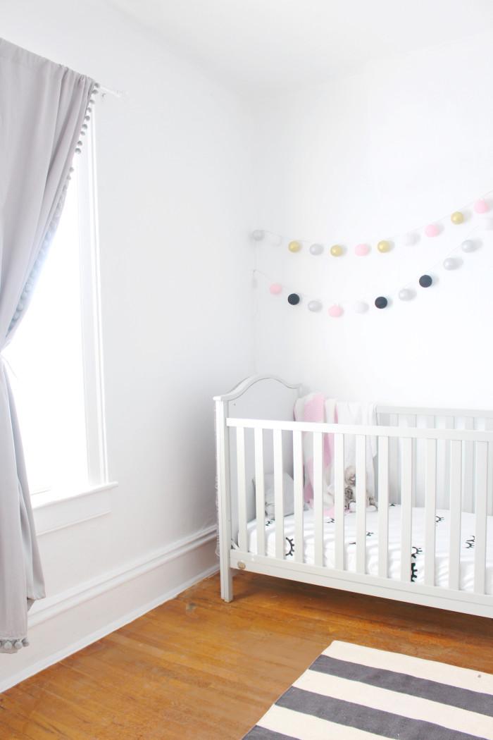 Black, white, pink nursery via ajoyfulriot.com @ajoyfulriot 21