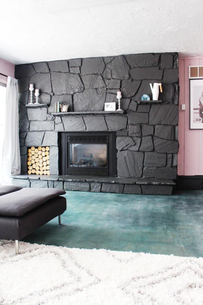 How to paint a rock fireplace. Really easy! ajoyfulriot.com @ajoyfulriot