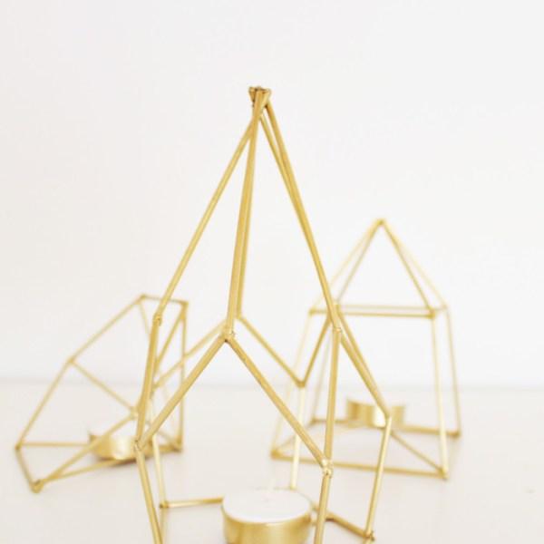 DIY Metallic Geometric Candle Holders