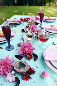 A purple, gray and turquoise geode inspired dinner party via ajoyfulriot.com