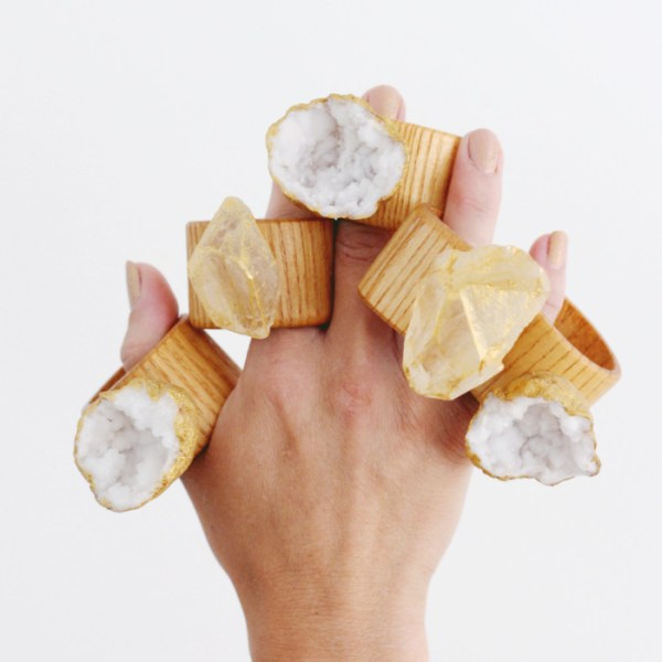 DIY Gilded Gemstone Napkin Rings