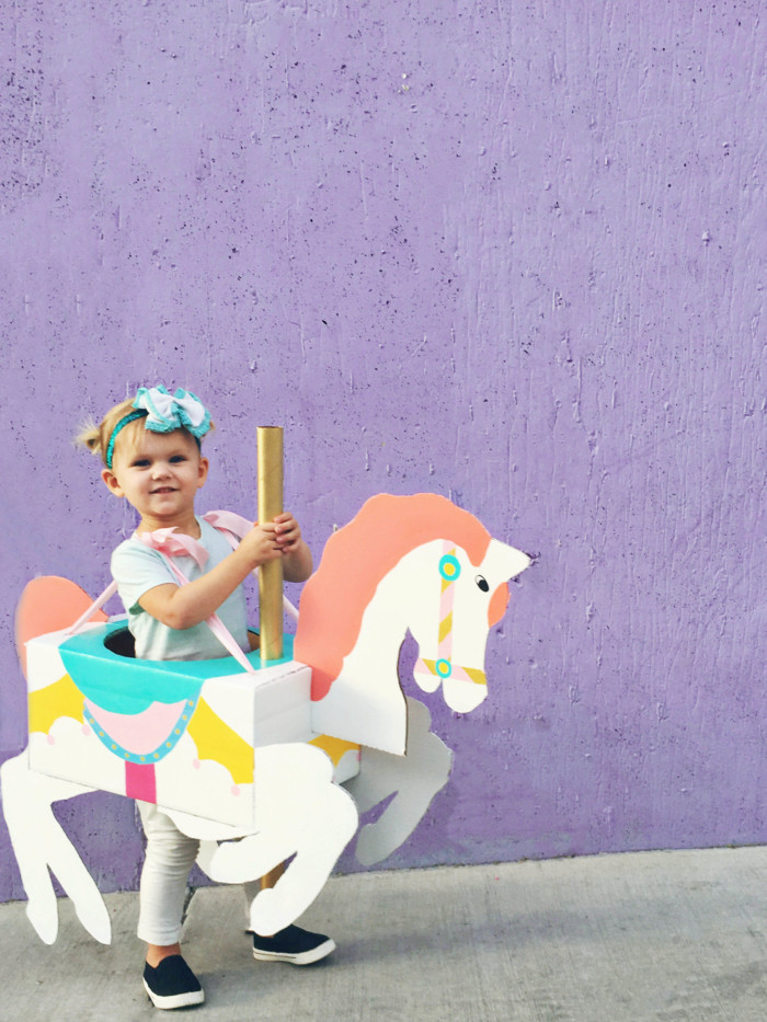 A cheap carousel horse costume DIY from cardboard that is CHEAP and adorable! | A Joyful Riot