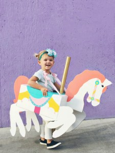A cheap carousel horse costume DIY from cardboard that is CHEAP and adorable!   A Joyful Riot