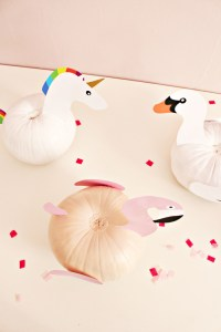 DIY these fun no-carve pool float pumpkins for Halloween and keep summer vibes around a little bit longer! | A Joyful Riot
