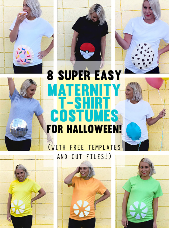 8 of the easiest maternity costumes ever! Free templates to make simple shirts so you can be carefree and comfy in your belly on Halloween!