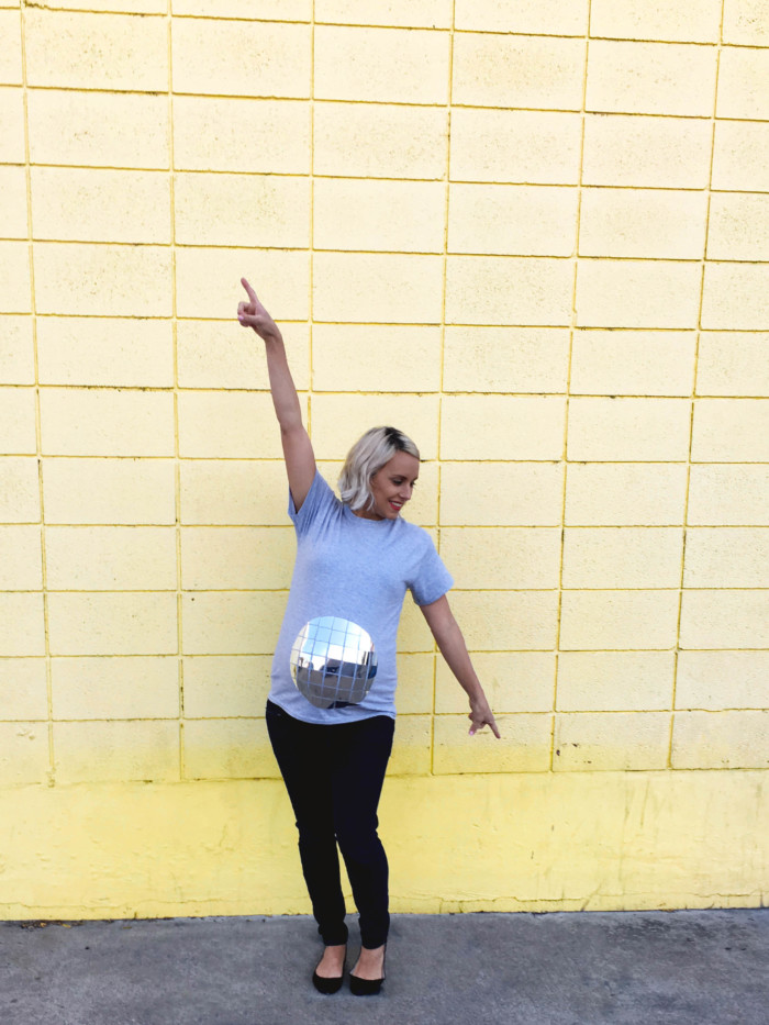 DIY disco ball belly easy maternity costume. Just a shirt and foil. Free templates in post! | A Joyful Riot