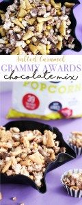 Salty & sweet chocolate caramel mix featuring Skinny Pop, perfect for a Grammy Awards watching party!