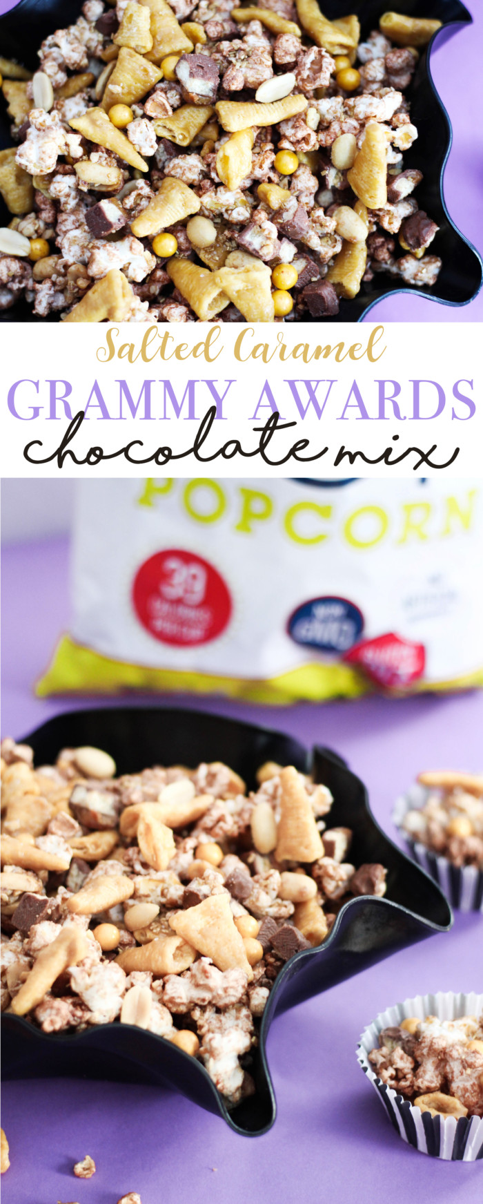"Salty & sweet chocolate caramel snack mix featuring SkinnyPop and little ""gramophones"", perfect for a Grammy Awards watching party!"
