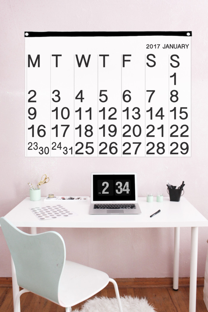 DIY your own version of the popular Stendig minimal calendar with this free printable! | A Joyful Riot