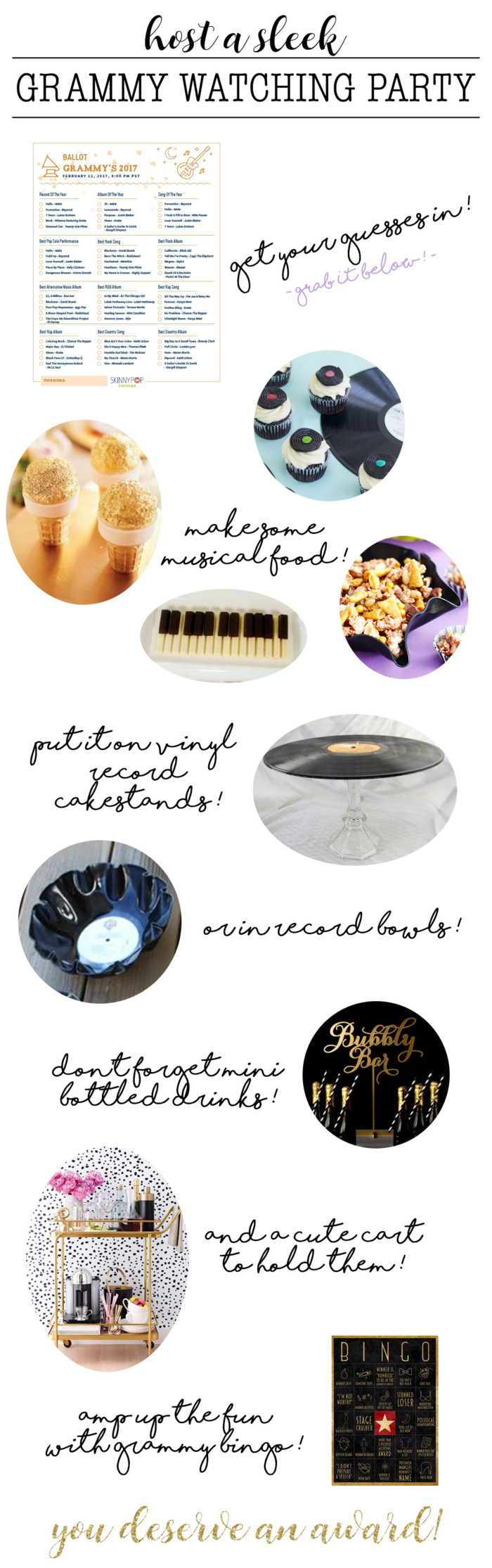 Host a sleek grammy party this year with these fun music-related foods and crafts!