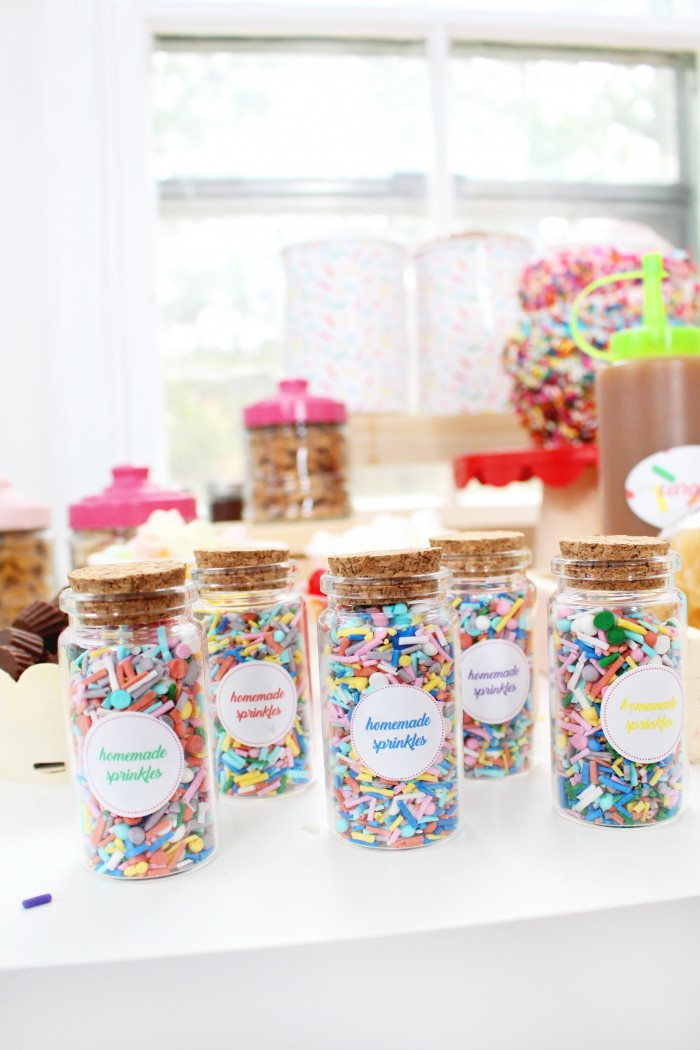 Easy recipe for custom DIY sprinkles! Plus free printable labels.