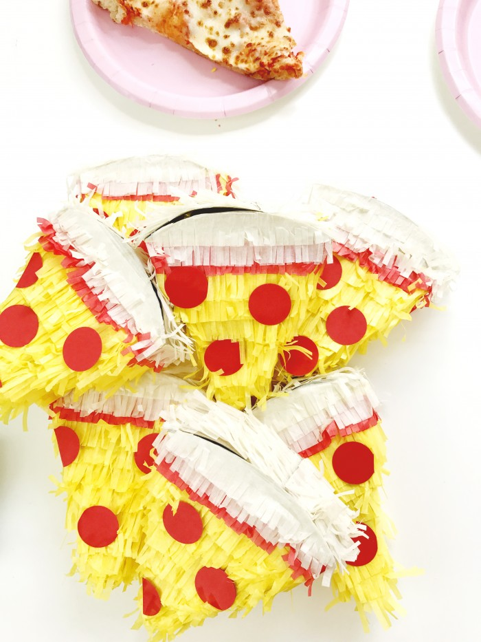 Pizza party! With DIY balloons, felt garland, giant pizza cookie, and mini pinatas!