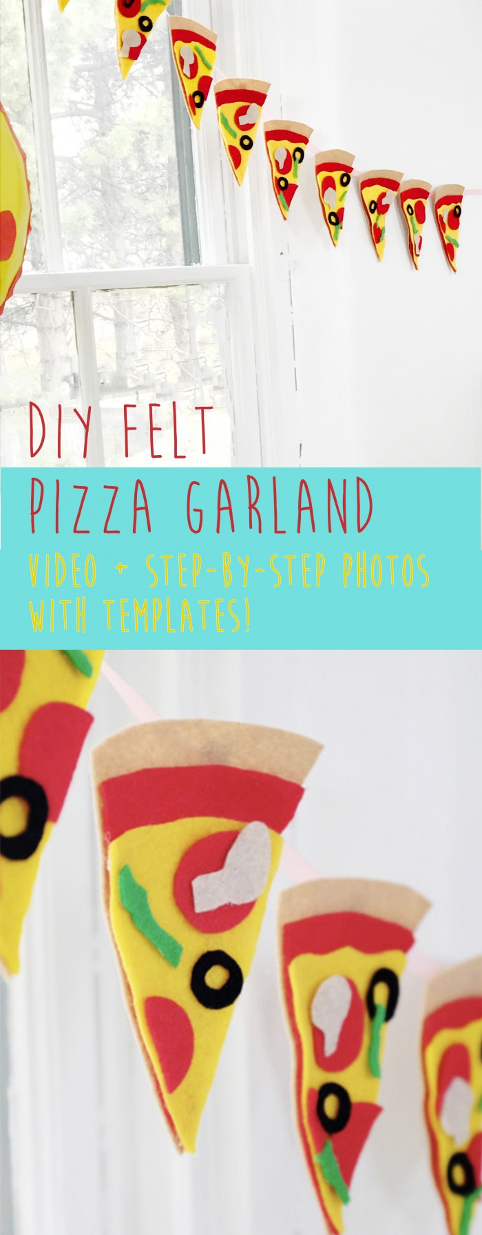 "Template and video of how to make a cute felt pizza garland complete with your favorite ""toppings"" for a pizza party!"