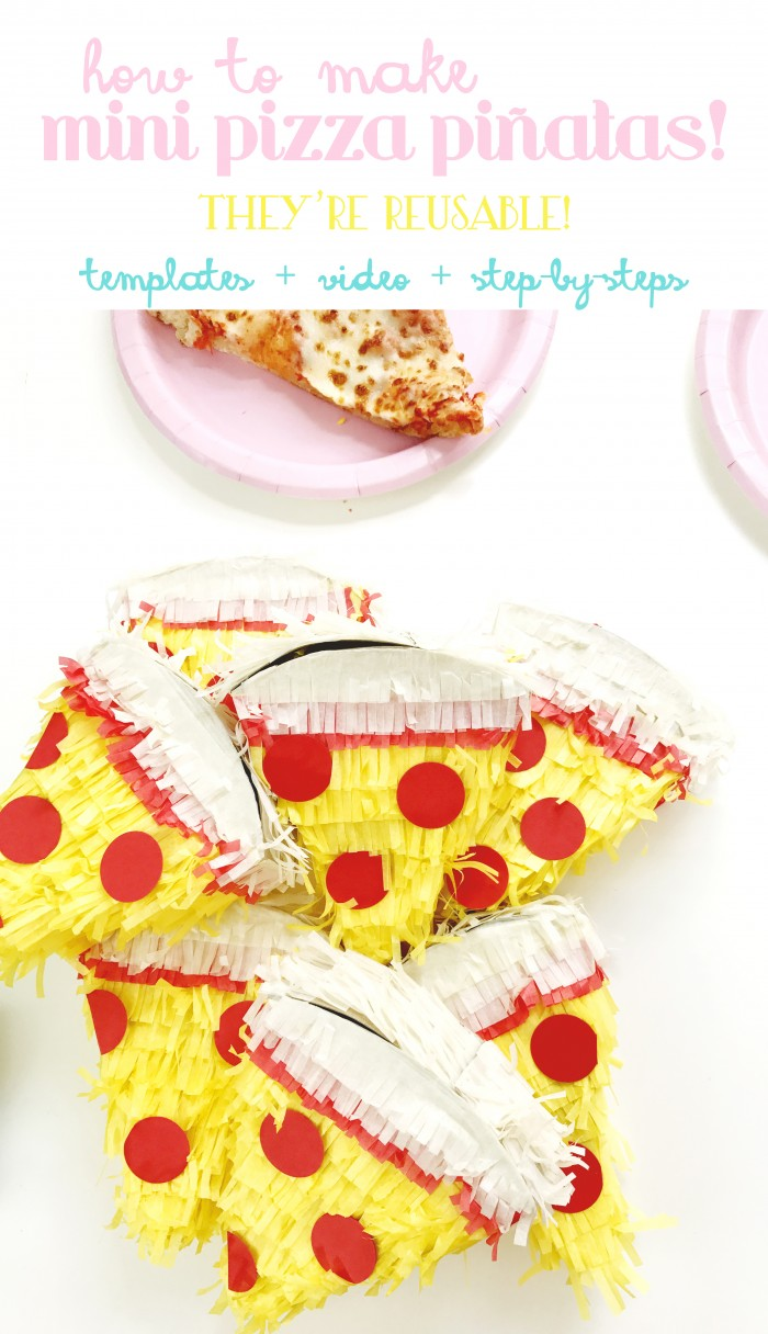 Mini reusable pizza slice pinatas! Video how-to or step by step photos and a free template!
