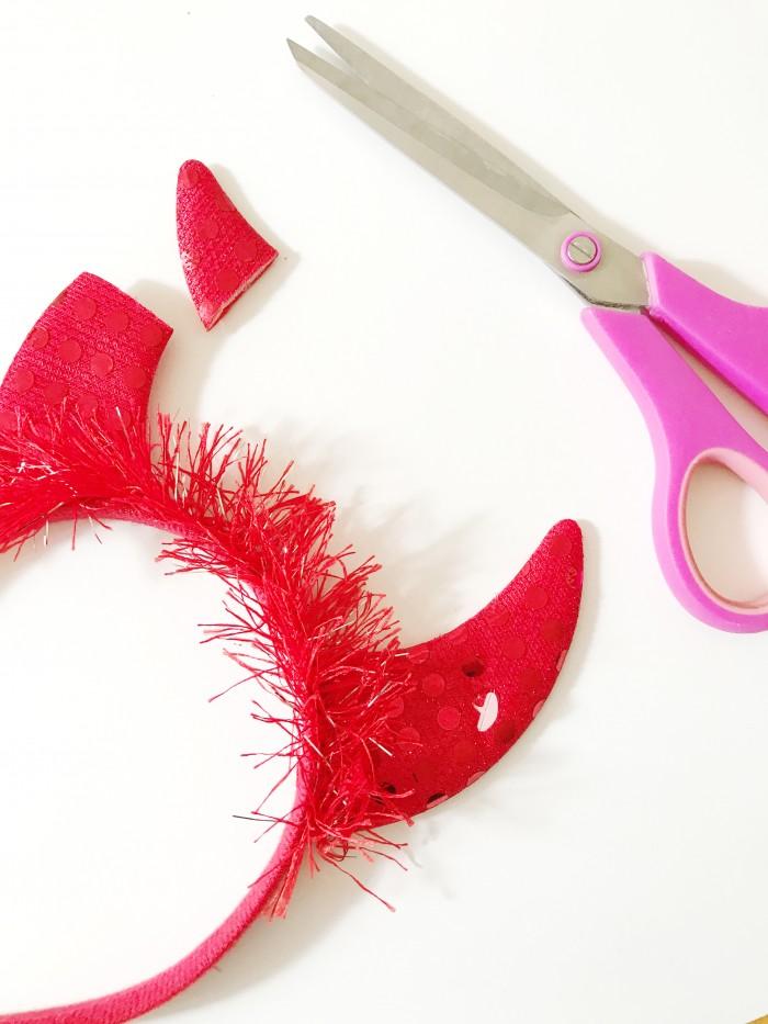 DIY mini red devil costume for lawn flamingo