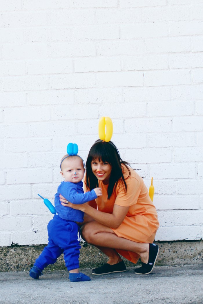 mom and me halloween costume colorful balloon dogs