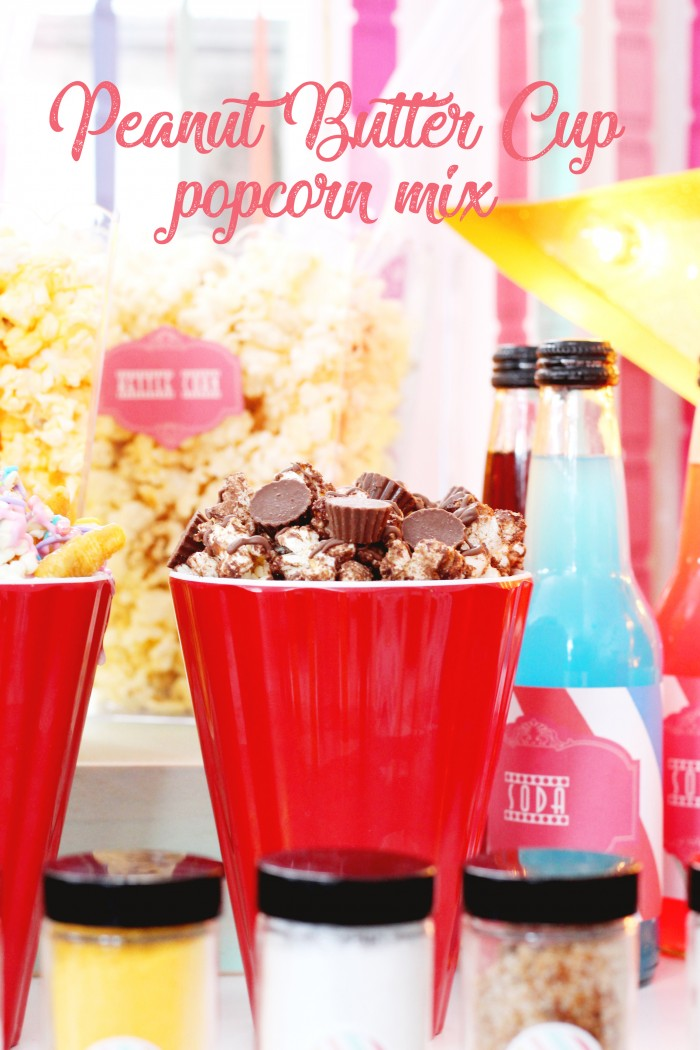 Decadent chocolate peanut butter cup popcorn snack mix recipe and video