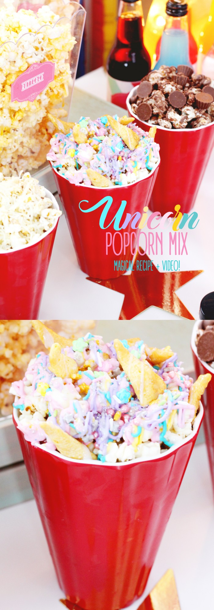 Colorful and decadent UNICORN popcorn mix recipe with video!