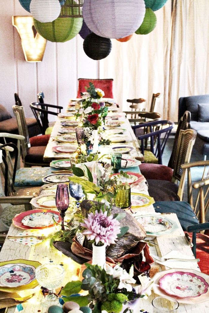 Mixed Vintage Chairs, Door Tables And Mixed Tablecloths, Vintage Cups,  Paper Lantern Chandelier