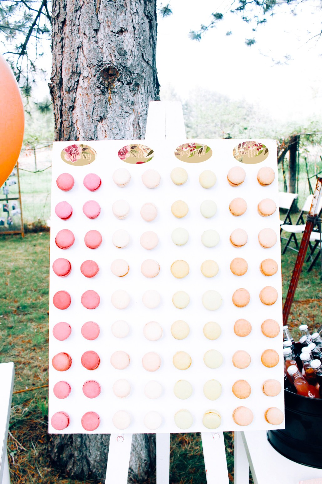 DIY macaron board (like a donut wall but with fancy macs!) pink and rose gold bridal shower