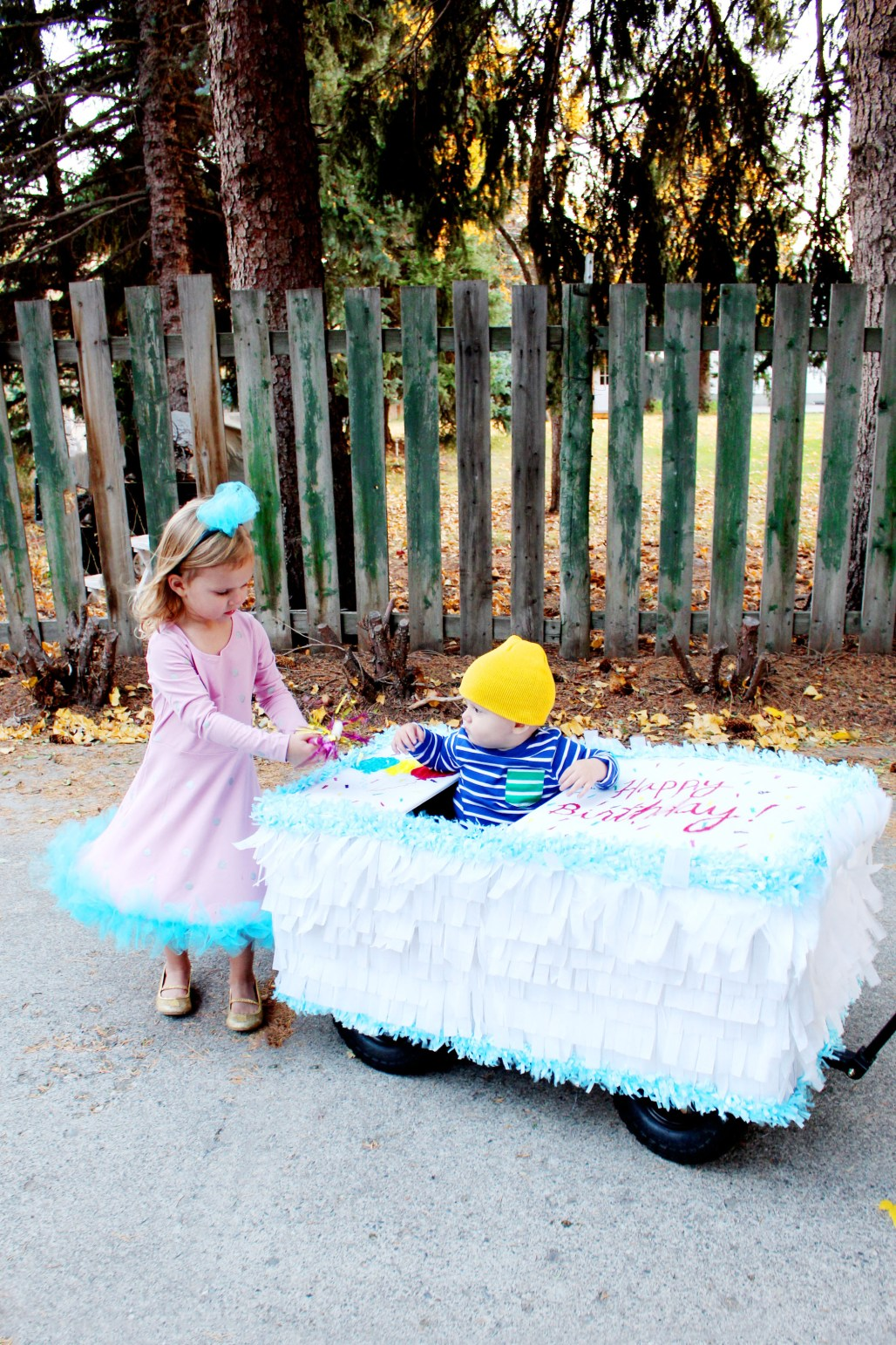 birthday cake costume and party hat costume