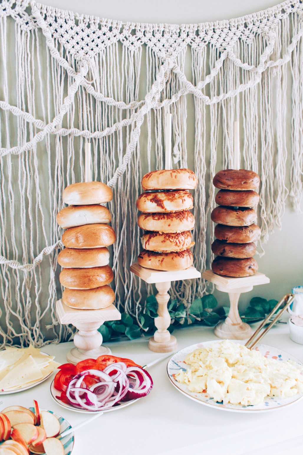 Mixed Gender Baby Shower Brunch Mint, Coral, Turquoise Bagel Towers