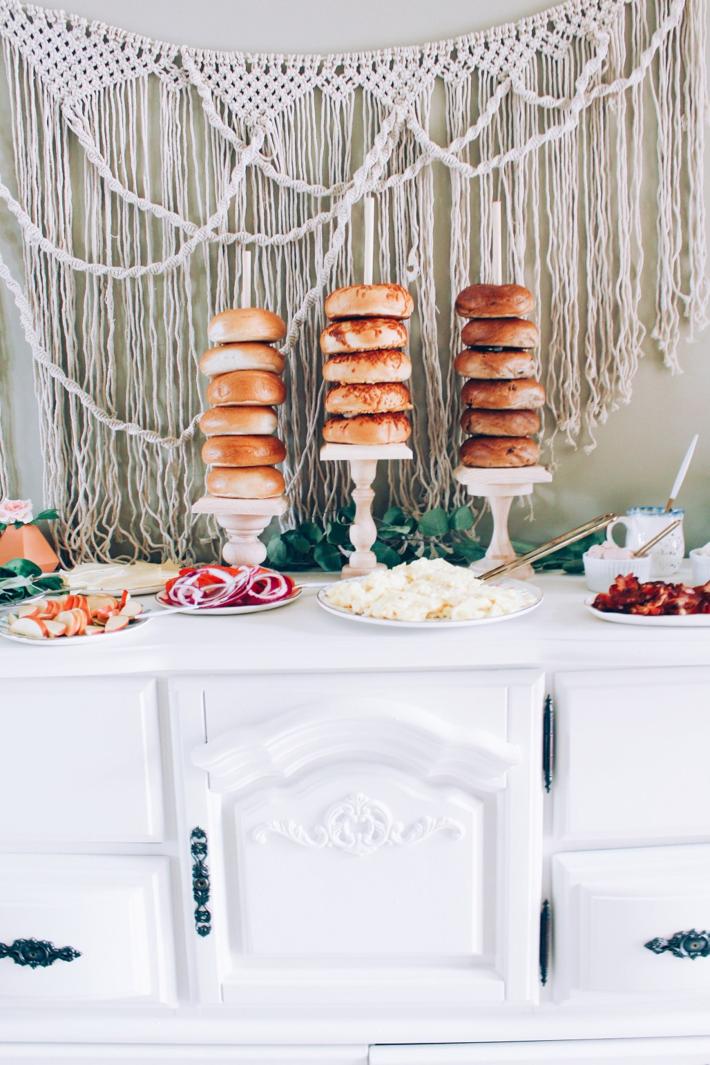 Mixed Gender Baby Shower Brunch Mint, Coral, Turquoise DIY Wood Bagel Stacks