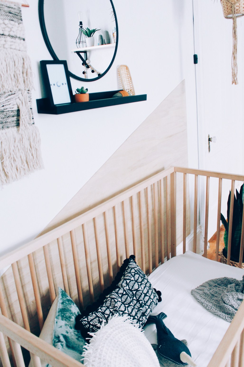 DIY plywood wall and neutral boy's room